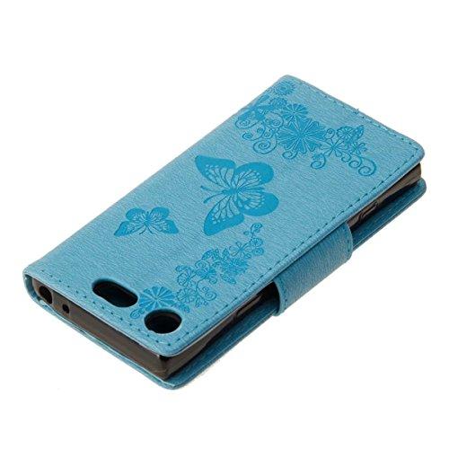 LEMORRY Sony Xperia XZ1 Compact Custodia Pelle Cuoio Flip Portafoglio Borsa Sottile Bumper Protettivo Magnetico Chiusura Morbido Silicone TPU Case Cover Custodia per Sony XZ1 Compact, Fortunato Farfal Azzurro