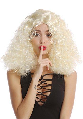 WIG ME UP - 90918-ZA615 Halloween Karneval Perücke Damenperücke lockig Mittelscheitel helles Blond + breites rotes Stirnband Hippie Engel Christkind
