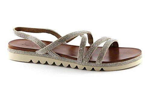 DIVINE FOLLIE SF02-9 beige Sandalen Frauen geringe elastische Strass Beige