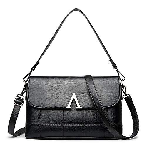 GAL Mode Neue Frauen Magnetische Schnalle Tasche Trend Mode Einfarbig Weichen Pu Leder Licht Messenger Umhängetasche Handtasche Umhängetasche (Farbe : Black) - Licht-vakuum