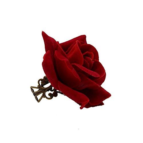 Rarelove Rosa Roja Flor Anillo tamaño ajustable