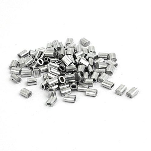 sourcing map 100Stk. Kabel Draht Seil Aluminium Hülse Clip Rohre Crimp Schleife 1,5mm de -