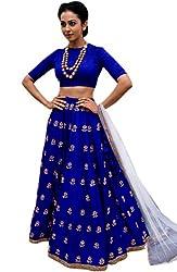 Shree Impex Embroidered Blue Taffeta Silk Semi stitched Lehenga choli (7 meters_flair_free size)