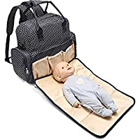 Baby Essentials waterproof travel diaper bag for babies with detachable nappy changing pad with free fashionable gift pouch