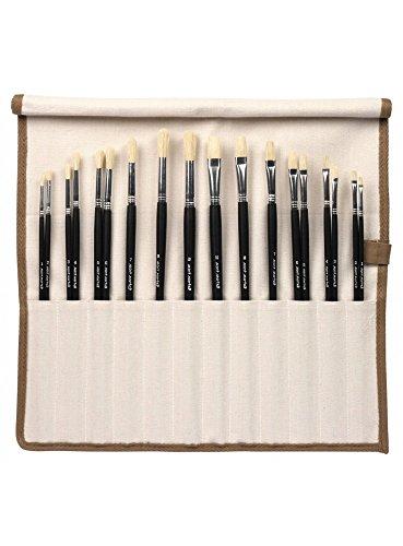 Mont Marte Premium Künstlerpinsel Set (18 Pinsel) - Pinselset in eleganter Leinwandrolle - Silber Serie - Borstenpinsel, ideal für Wasserfarben, Aquarellfarben