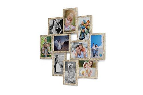 Artepoint Holz Fotogalerie für 10 Fotos 13x18 cm - 3D 1002 Bilderrahmen Bildergalerie Fotocollage Rahmenfarbe Golden Elfenbein