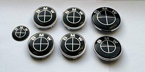 Preisvergleich Produktbild OEM 36136783536, 36131095361, 36136768640, 51148132375 Set von 7BMW All Black Logo Wheel Center Kappen, Kofferraum, Motorhaube & Lenkrad Badges Embleme