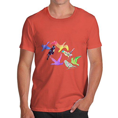 Herren Rainbow Birds T-Shirt Orange