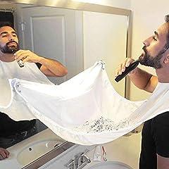 Idea Regalo - grembiule per barba. Grembiule con ventose per specchio. Cattura barba e capelli. Non preoccuparti di rimuovere peli della barba, capelli e baffi nel bagno (bianco)
