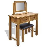 vidaXL Oak Wooden Dressing Table Vanity Unit Makeup Desk 2 Drawers with Stool/Mirror