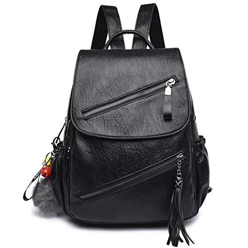 DEERWORD Damen Rucksackhandtaschen Damenhandtaschen Tornistertaschen Henkeltaschen Umhängetaschen Schwarz