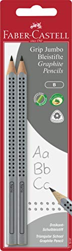 Faber-Castell 111997 -  2 Jumbo GRIP Bleistifte, Härtegrad: B, Schaftfarbe: silber