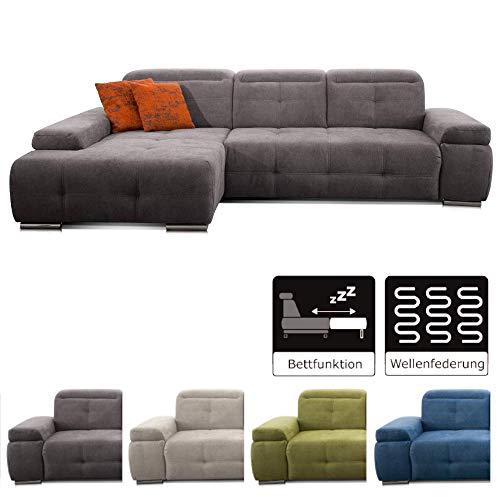 CAVADORE Schlafsofa Mistrel mit Longchair XL links / Große Eck-Couch im modernen Design / Mit Bettfunktion / Inkl. verstellbare Kopfteile / Wellenunterfederung / 273 x 77 x 173 cm(B x H x T) / Grau