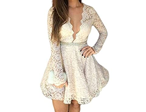 Bling-Bling Womens White Gorgeous Deep V Neck Lace Skater Dress Size M