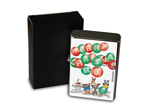 LEotiE SINCE 2004 Chrom Sturm Feuerzeug Benzin Bedruckt Weihnachten Luftballon