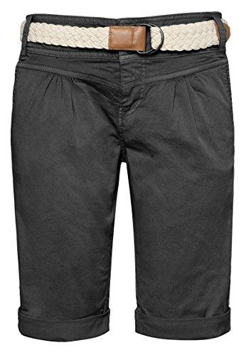 Fresh Made Damen Bermuda-Shorts in Pastellfarben mit Flecht-Gürtel | Elegante kurze Hose im Chino-Style dark-grey M