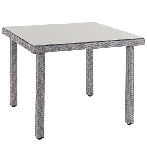 Mendler Poly-Rattan Gartentisch Cava, Esstisch Tisch mit Glasplatte, 90x90x74cm