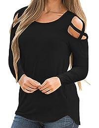 ABCone Donna Pullover Felpa Collo Strappy Cold Shoulder Solid T-Shirt  Maniche Lunghe Elegante Autunno Camicette… 1e79799c5c9