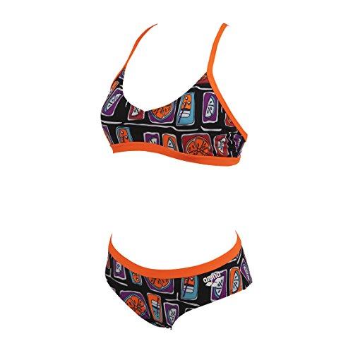 Arena modischer Damen Schwimm Bikini Fruit Style black/tropical orange