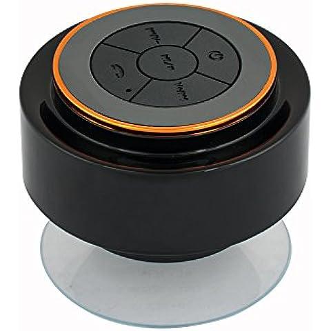 Expower IPX7 Altoparlante Bluetooth Impermeabile Stereo Antiurto Speaker Musica con Ventosa da Doccia Bagno Piscina Auto Resistente all'Acqua (Nero+Arancia)