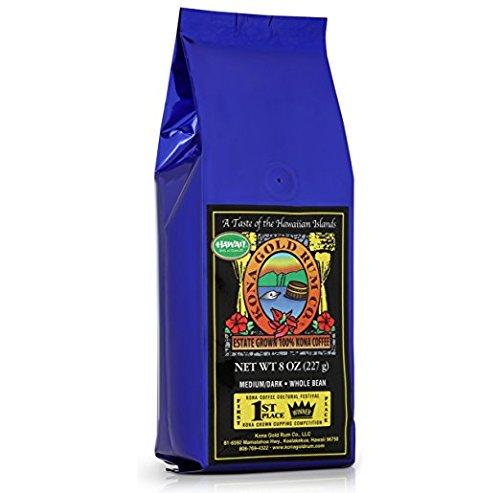 Kona Gold Coffee Whole Beans - 8 oz, by Kona Gold Rum Co. - Medium/Dark Roast Extra Fancy - 100% Kona Coffee - Kona Coffee Plantation Hawaii