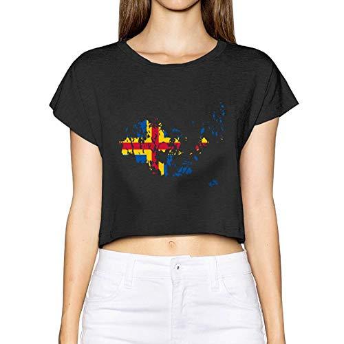 Frauen Sexy Revealed T-Shirt Aland Islands Flagge Karte Kurzarm Bluse Tops T-Nabel (Medium, Schwarz) - Cowl Neck Cream