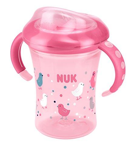 NUK Starter Cup Trinklernbecher, Silikontrinktülle, auslaufsicher, 230ml, 6+ Monate, BPA-frei, Rosa