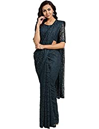 Akhilam Women's Solid Net Saree with Unstitched Blouse Piece (Green_NETM2903)