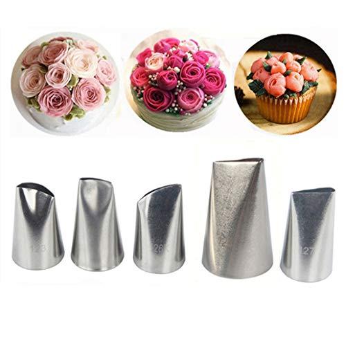 Kbstore 5 pezzi beccucci in acciaio per sac a poche - bocchette fiori pasticceria set per decorazione torte, cupcakes, biscotti, pasticcini #6
