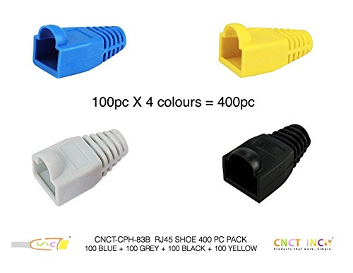 CNCT Blue RJ-45 Boots (50 pcs) - Strain Relief Boots to protect RJ45 Clips - For use in Network Patch Cables - Suitable for upto 23 AWG UTP wires from Systimax - Amp - Dlink - Digilink - Belkin - Digisol - Belden - Molex - Polycab - Finolex - MX