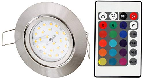 LED RGB Slim Spot Einbaustrahler 230V schwenkbar - mit Fernbedienung - Farbwechsel - 3-stufig dimmbar - Memory-Funktion - eisen-gebürstet -