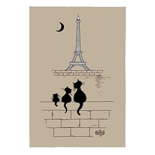 Torchon Dubout Chats Tour Eiffel ficelle 48 x 72 cm T&B Maison