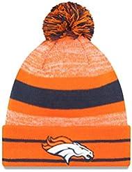 Denver Broncos sur champ Orange, bleu Sport en tricot chapeau Bonnet avec Pom Top New Era