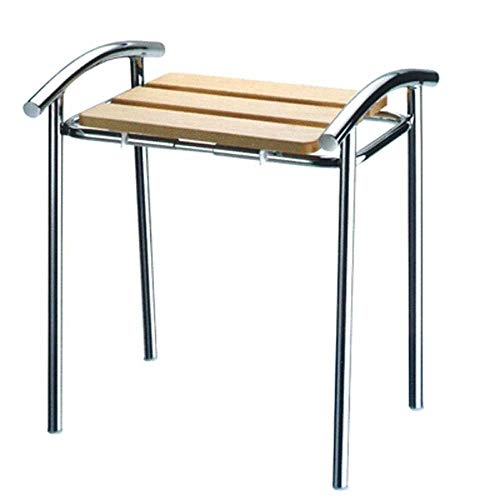 Badhocker aus Holz Struktur aus Stahl verchromt Bad Behinderungen ältere