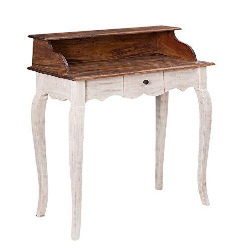 Edler Sekretär LA FLEUR Mahagoni Massivholz Landhaus Stil Schreibtisch Schminktisch Shabby Chic weiß (Weißen Schreibtisch Für Schlafzimmer)