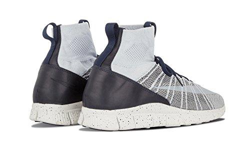 Nike Free Flyknit Mercurial, Chaussures de Foot Homme, Gris Argenté / blanc (platine pur / blanc sommet - gris foncé - obsidienne)
