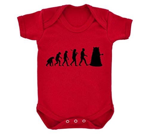 Evolution of a Cyborg Mutant Design Baby Body rot mit schwarz Druck Gr. 6-12 Monate, rot - Mutanten Who Dr
