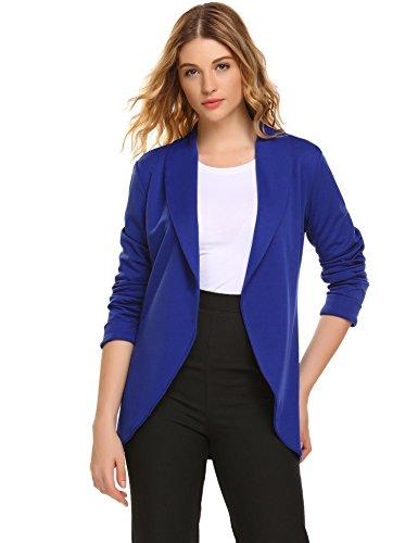 Zeagoo Damen Kurzblazer Anzug Elegante Jacke ohne Verschluss Gr.S-XXL Blau