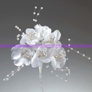 Bouquet de fleurs et perles nacrées blanches, haut. 12 cm