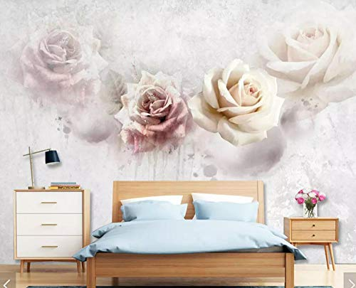 Fototapete 3D Effekt Tapeten Rose Hellrosa Vintage Vliestapete Wandbilder Wallpaper Dekoration