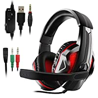 Xbox One Headset, Etpark 3.5mm LED Gaming Headset Stereo Gaming Microphone Over-Ear Headphone Headset Headband with Noise Cancelling Volume Control for SONY PS4 Xbox One S