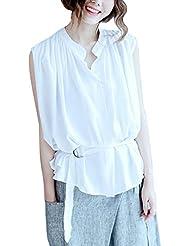 Youlee Femmes Supporter Collier Sans Manches Chemise avec Ceinture