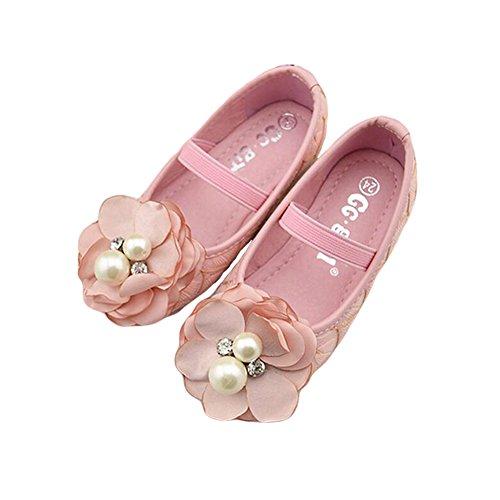 Meijunter Doux Enfants Bébés filles Chaussures Anti-Slip fond mou Perles Fleur Princesse Chaussures de danse pink