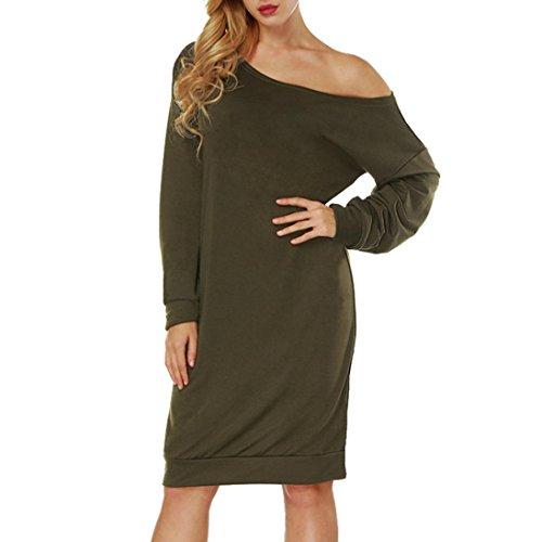 Kleid Damen,Transwen Frauen Slash Hals Rein Farbe Langen Ärnen Gesäß Minikleid Reizvoller aus...