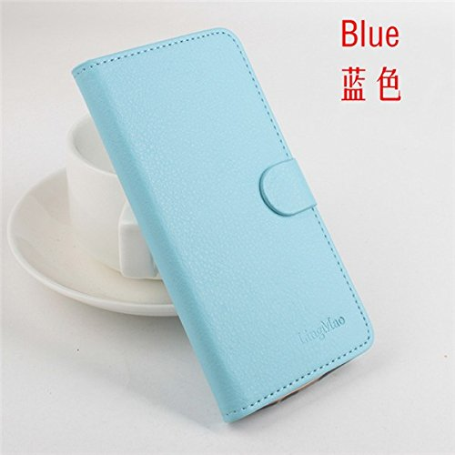 LingMao Easbuy Pu Leder Kunstleder Flip Cove Pu Leder Tasche Hülle Case Für Elephone P6000 P6000 PRO Smartphone (Blau)