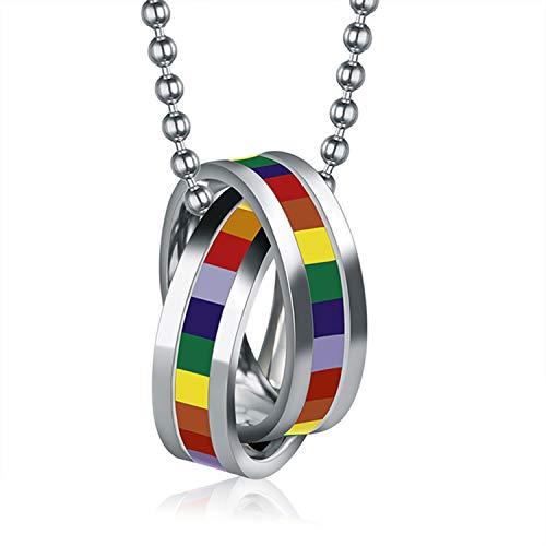 Oidea Unisex Edelstahl Anhänger Dopplte Ringe Halskette Regenbogen Homosexuell LGBT Gay & Lesbian Pride Herren Damen mit 60.5cm Kugel Kette