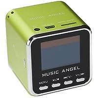 BLUE BD GmbH MUSIC ANGEL - Minirreproductor portátil (diseño de cubo, sonido estéreo, incluye altavoz, radio, reloj, despertador, puerto USB y ranura para tarjetas microSD), color verde