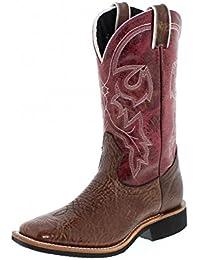 Botas americanas–Botas cowboy bo-5200-c (pie normal)–Mujer–Piel–Magenta/marrón