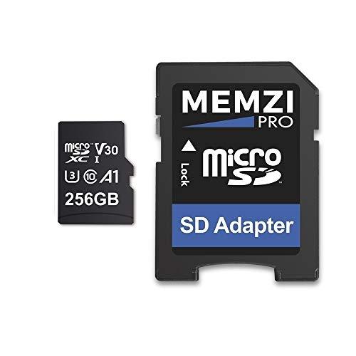 MEMZI PRO 256 GB Tarjeta de Memoria Micro SDXC de para GoPro Hero7/Hero6, Hero 7/6 Cámaras de acción - Rápido Clase 10 UHS-1 U3 V30 100MB/s Lea 90MB/s Escribir 4K Grabación con adaptador SD