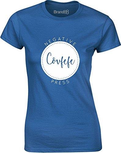 Brand88 - Covfefe, Gedruckt Frauen T-Shirt Königsblau/Weiß